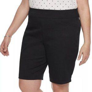 Croft & Barrow Pull-On Bermuda Black Shorts 24W